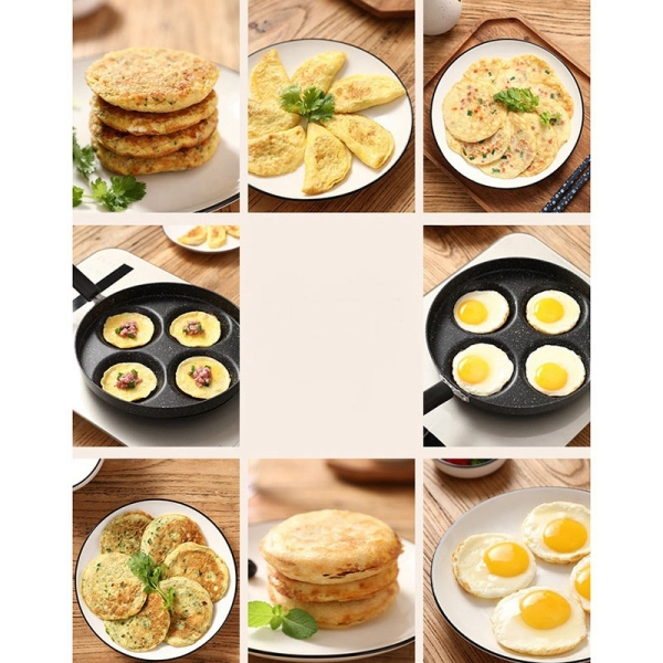 Frying Pan Four-Hole Omelet Pan for Eggs Ham Maker Frying Pans Creative Non-Stick No Oil-Smoke Breakfast Grill Pan