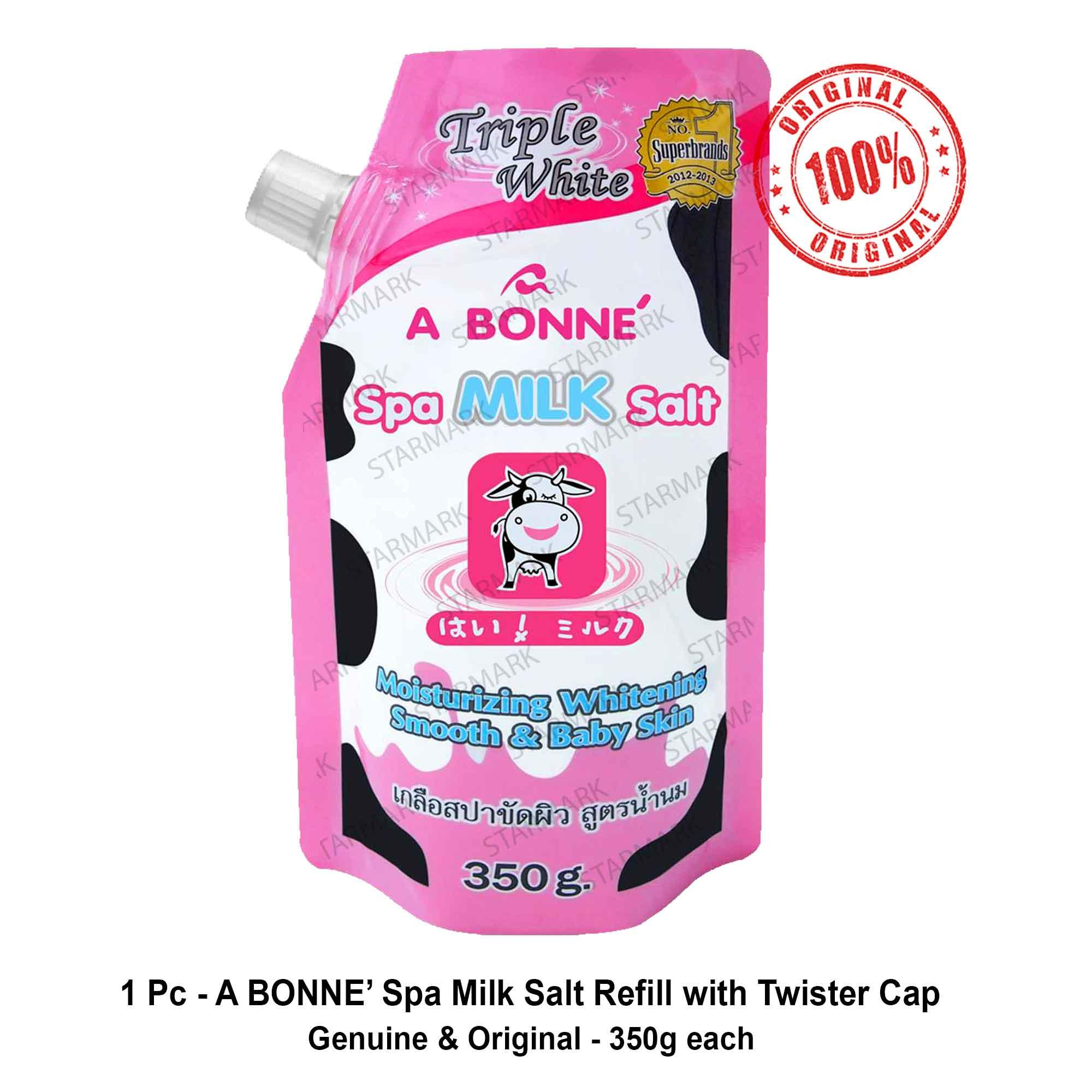 Abonne Spa Milk Salt Regular 350g Each Refill With Twister Cap Salts - A Bonne, Abonne Set Of 1 Pc - Genuine And Original By Starmark Enterprises.