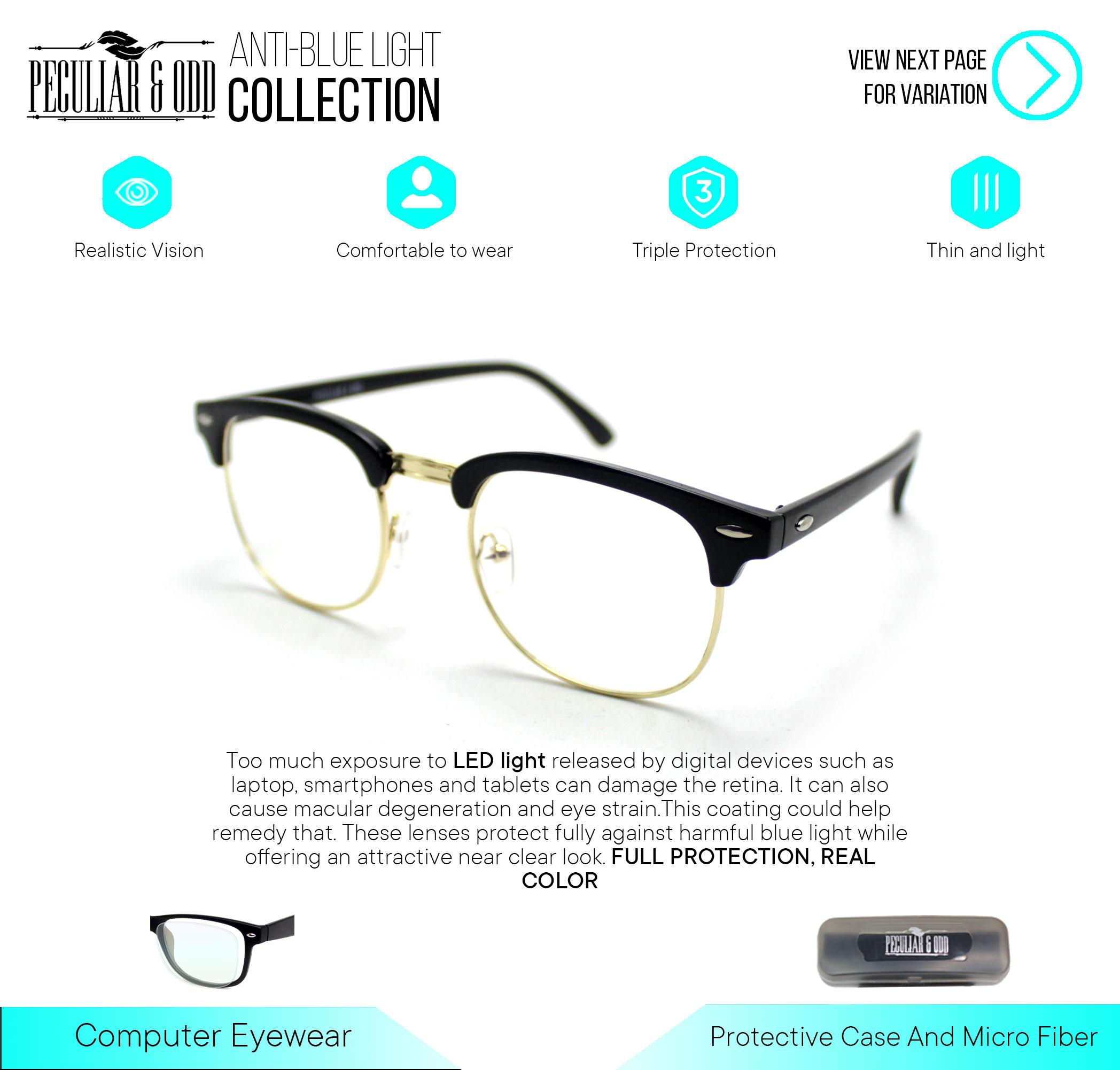 19c34329f4 Peculiar Clubmaster Classic Square with Clear Lens 1365_BlackGold Computer  Anti Radiation Replaceable for Prescription Lens Optical