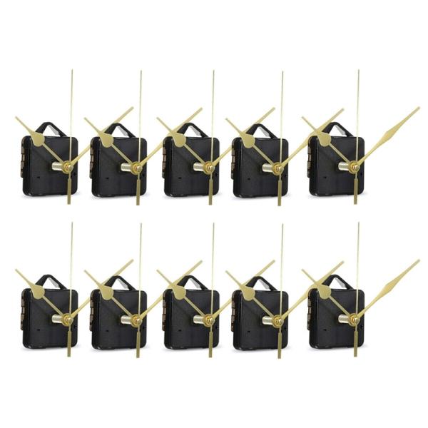 10Pcs DIY Silent Movement Spindle Hands Wall Quartz Clock Movement Mechanism Repair Tools Part Clock Kit