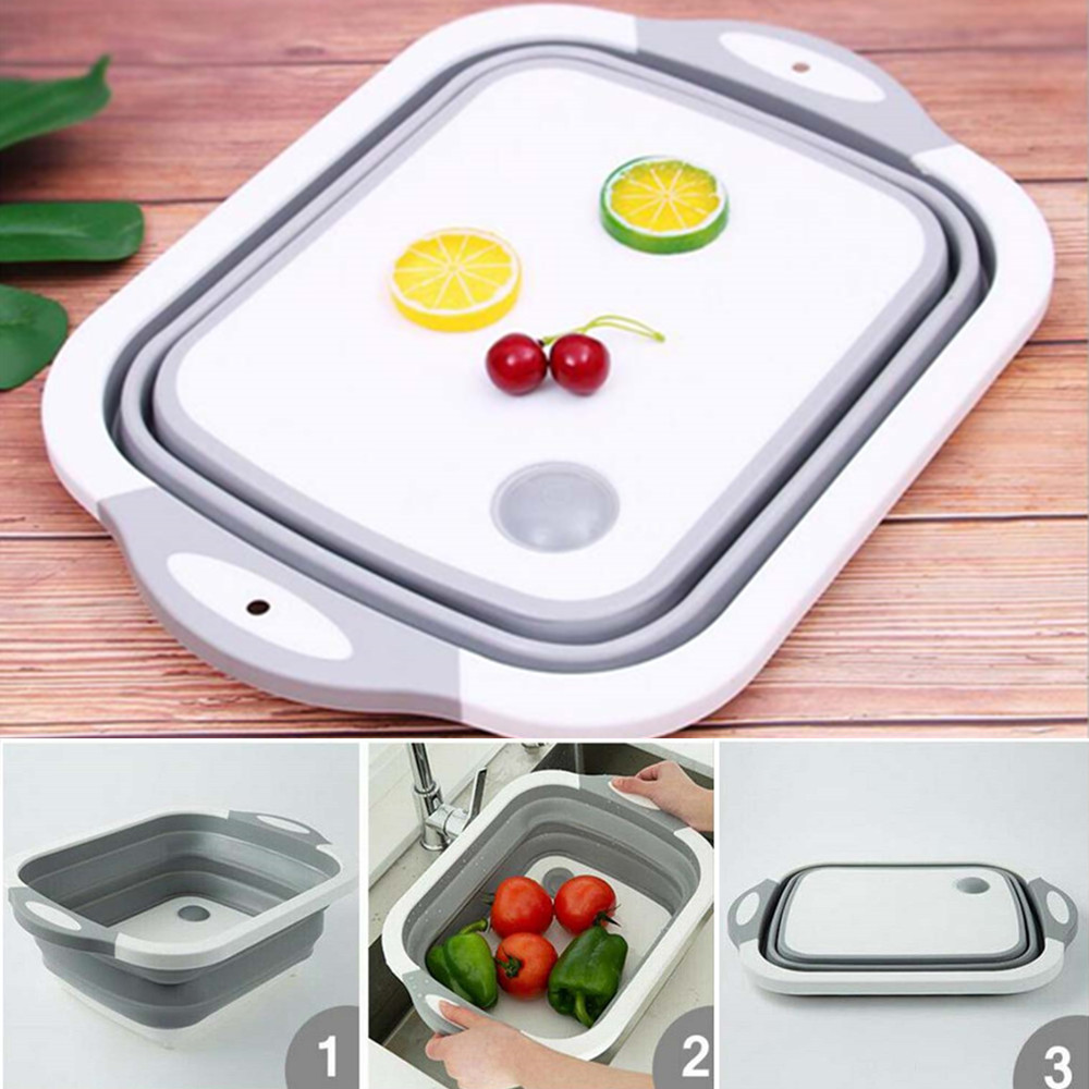2 in 1 Chopping board With Sink Washing Tray Hanging On The Sink Cutting Board