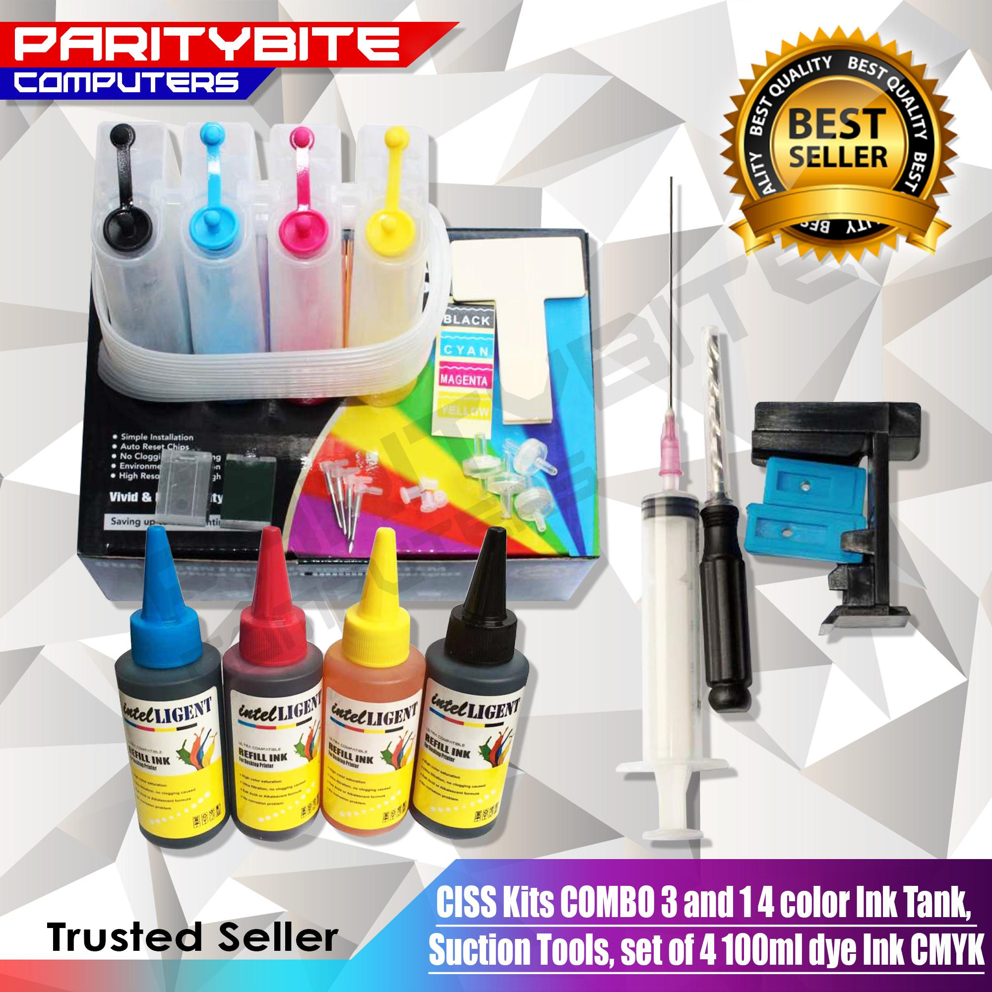 Ciss Kits Combo 3n1 (4 Color Ink Tank, Suction Tools, Set Of 4 100ml Dye Ink Cmyk) By Paritybite Computers.