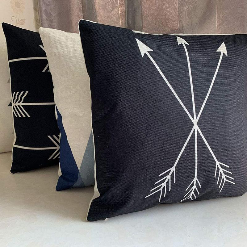 Throw Pillow Covers Black And White Pillow Cases Set Of 4 18X18 Decorative Square Zippered Cotton Linen Cushion Cover Room Sofa Decor Có Giá Cực Tốt