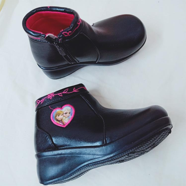 7e336360918ab Kids Fashion School Black SHoes Wedge Zippers Short Boots GIrls Shoes