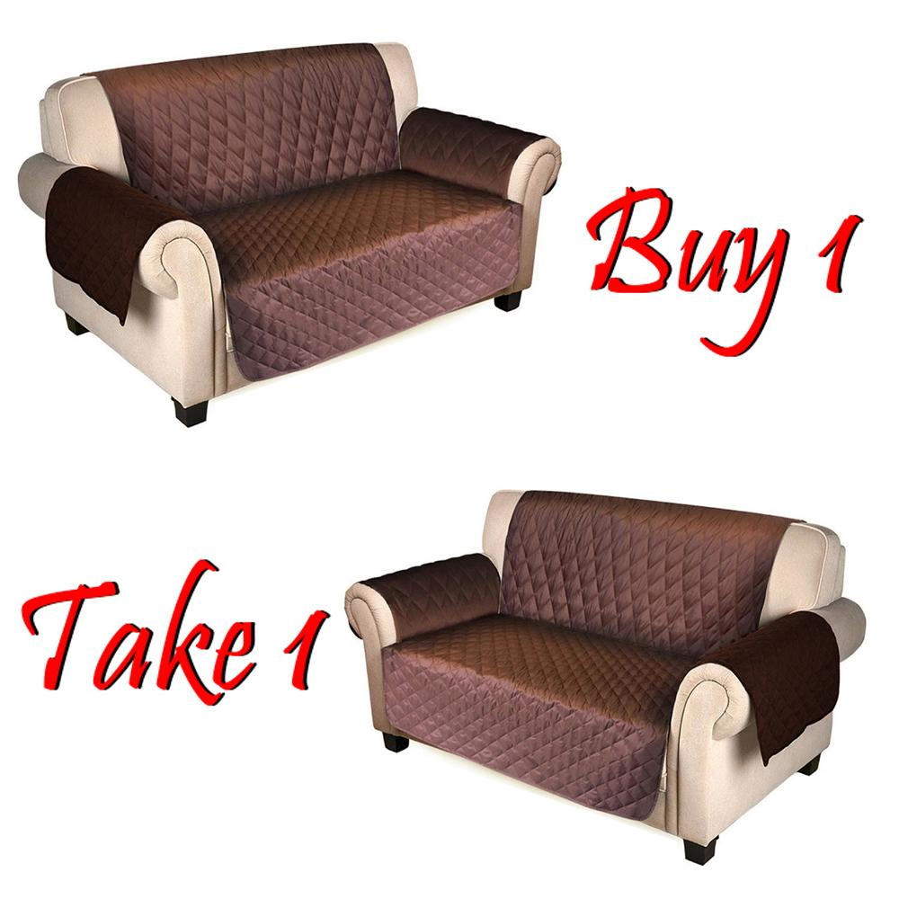 1 Take Double Seater Quilted And Reversible Sofa Cover