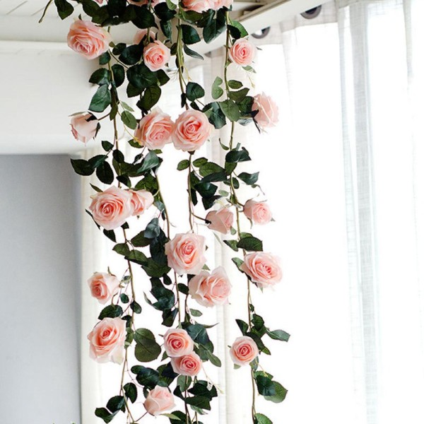180cm Artificial Rose Flower Vine Wedding Decorative Real Touch Silk Flowers With Green Leaves for Home Hanging Garland Decor(pink)