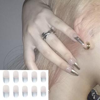 FICCR737 24pcs Box Fashion Full Cover Detachable Artificial Fake Nails Wearable Short French False Nails Nail Tips thumbnail