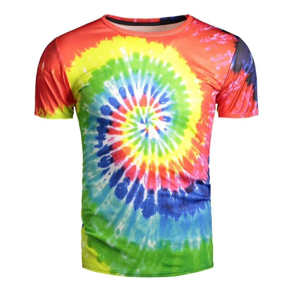3a50331e2 New Sale Men T Shirt 3D Print Trippy And Psychedelic Tie-Dye Summer Style  Tops