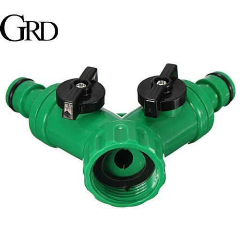 Y shaped Screw Hose Splitter 2 way Connector Turn Off Plastic Tap Tube