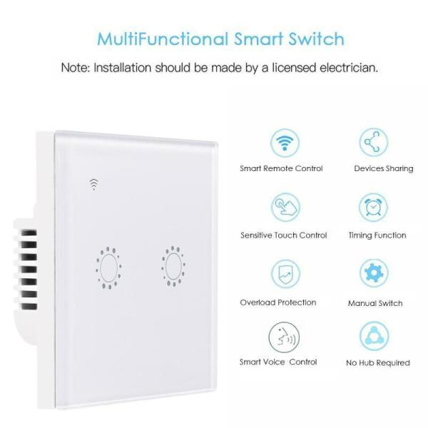 E Life Smart Store Touch Smart Wifi Switch eWeLink APP Remote Control Panel Wall Switch UK/EU Plug 2Gang Wireless Voice Timer Control Light Switch for Smart Home Automation Support COD