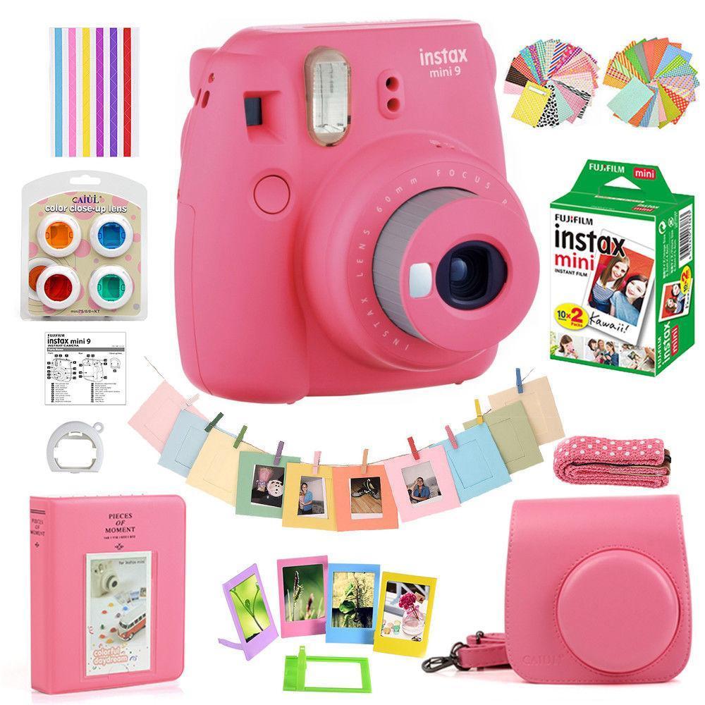 604cfb85b Fujifilm Instax Mini 9 Camera Polaroid + 20 Sheet Instant Film + Case +  Accssory