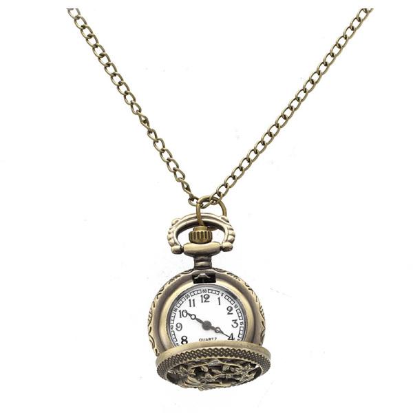 Quartz Pendant Pocket Watch Chain Vintage Bronze Arabic Numeral Hollow Butterfly