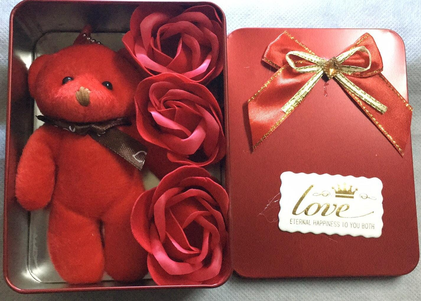 3pcs Rectangular Scented Roses Bath Soap Gift Box With 1 Bear For Anniversary/ Birthday/ Wedding/ Valentine's Day/ Mother's Day By Lucky Living Shop.