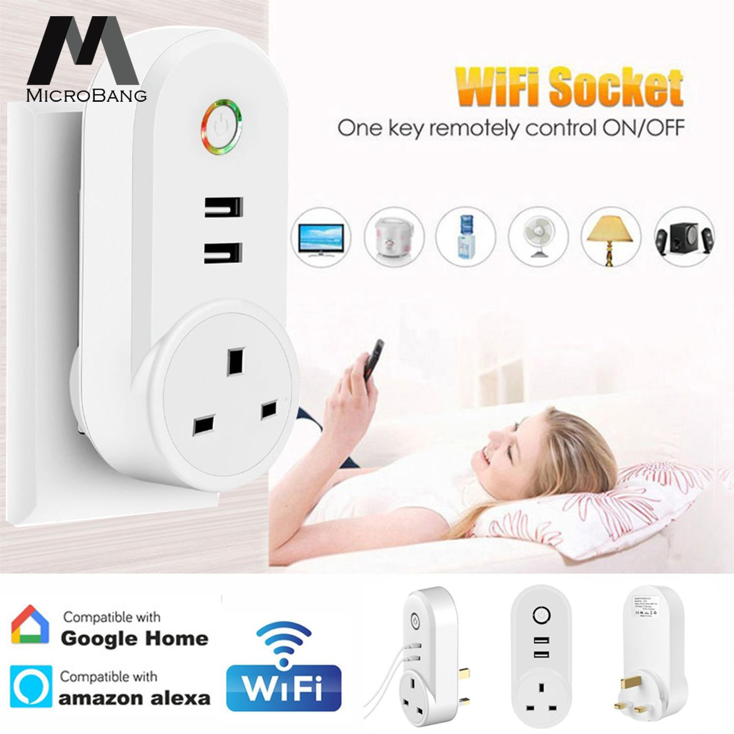 MicroBang WiFi Smart Socket Plug Wireless App Remote Control Switch Power Plug Socket Smart Wall Plug Socket Outlet with Dual USB Port & Timing Timer for Smart Home