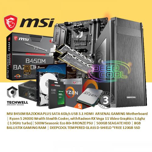 MSI B450M BAZOOKA PLUS MSI B450M BAZOOKA PLUS SATA 6Gb/s USB 3.1 HDMI ARSENAL GAMING Motherboard Ryzen 5 2400G Wraith Stealth Cooler, with Radeon RX Vega 11 Video Graphics3.6ghz( 3.9GHz turbo) 500W Seasonic Eco 80+ BRONZE PSU 500GB SEAGATE HDD 8GB BALLIST image