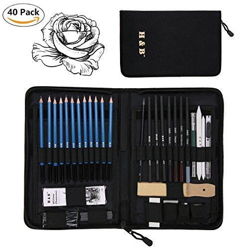 40pcs/set Professional Art Sketching Pencils Set Drawing Pencils Set Charcoals Graphite Pencils Supplies With