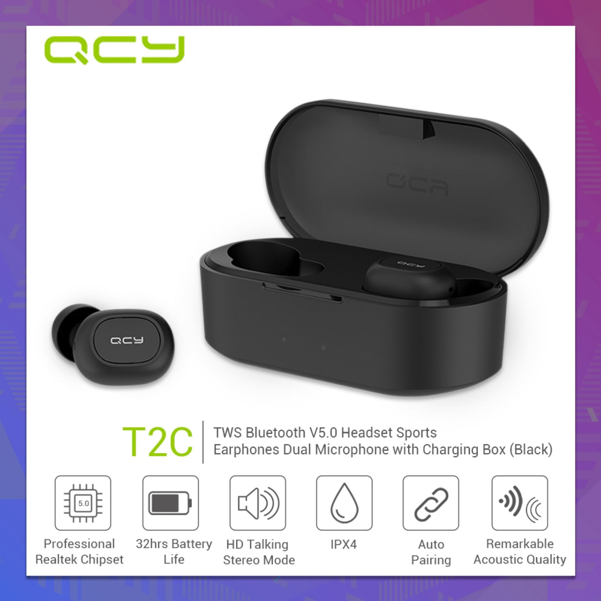 52bb4e67067 QCY T2C TWS BT5.0 Wireless earbuds with Dual Microphone 3D Stereo Bluetooth  Headphones Sport
