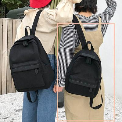 Harajuku Canvas Backpack Female Japanese-style Korean Style College Student Simple Versatile Leisure Small Backpack INS Ultra-Fire School Bag