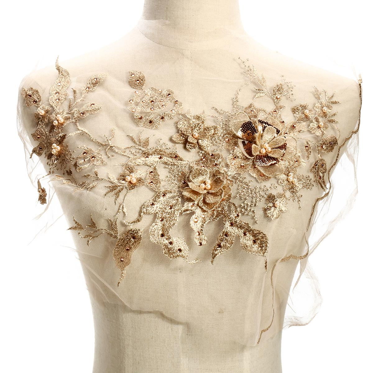 Pearl Beaded 3D Flowers Lace Applique Wedding Dress Decor Floral Patch  Costume - intl Free 524b9e28aa5e