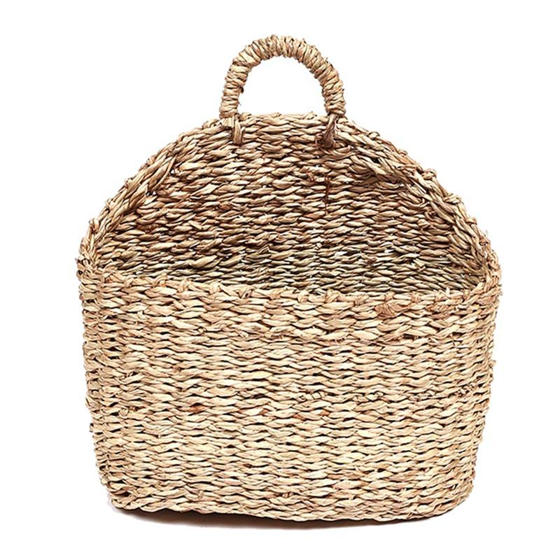Plant Bins, Handmade Woven Hanging Basket Natural Straw Grass Ee Water Wall Basket for Home Garden Wall Decor Ee Wedding