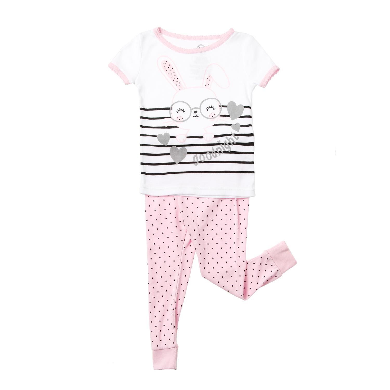 cf0611639eba3 SM Baby Girls Wondernation Good Night Bunny Pajama Set in White