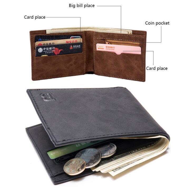 6c253333b29 Leather Wallet Men Short Baborry Short Leather Men Wallet Vintage PU  Leather Short Wallet For Men