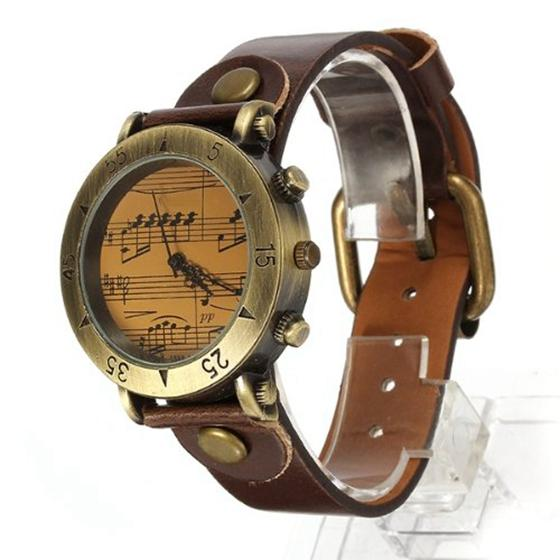 Fashion Vintage Piano Quartz Women Leather Metal Wrist Watch Brown Malaysia