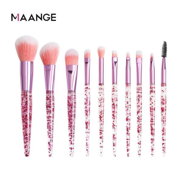 Bộ 10 cọ trang điểm MAANGE lông mềm dùng tán phấn nền/má hồng/mắt chuyên nghiệp giá rẻ