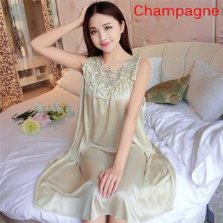 Váy Ngủ Lụa Ren Cho Nữ Asoe, Màu Trơn, Quần Áo Mặc Ở Nhà thumbnail