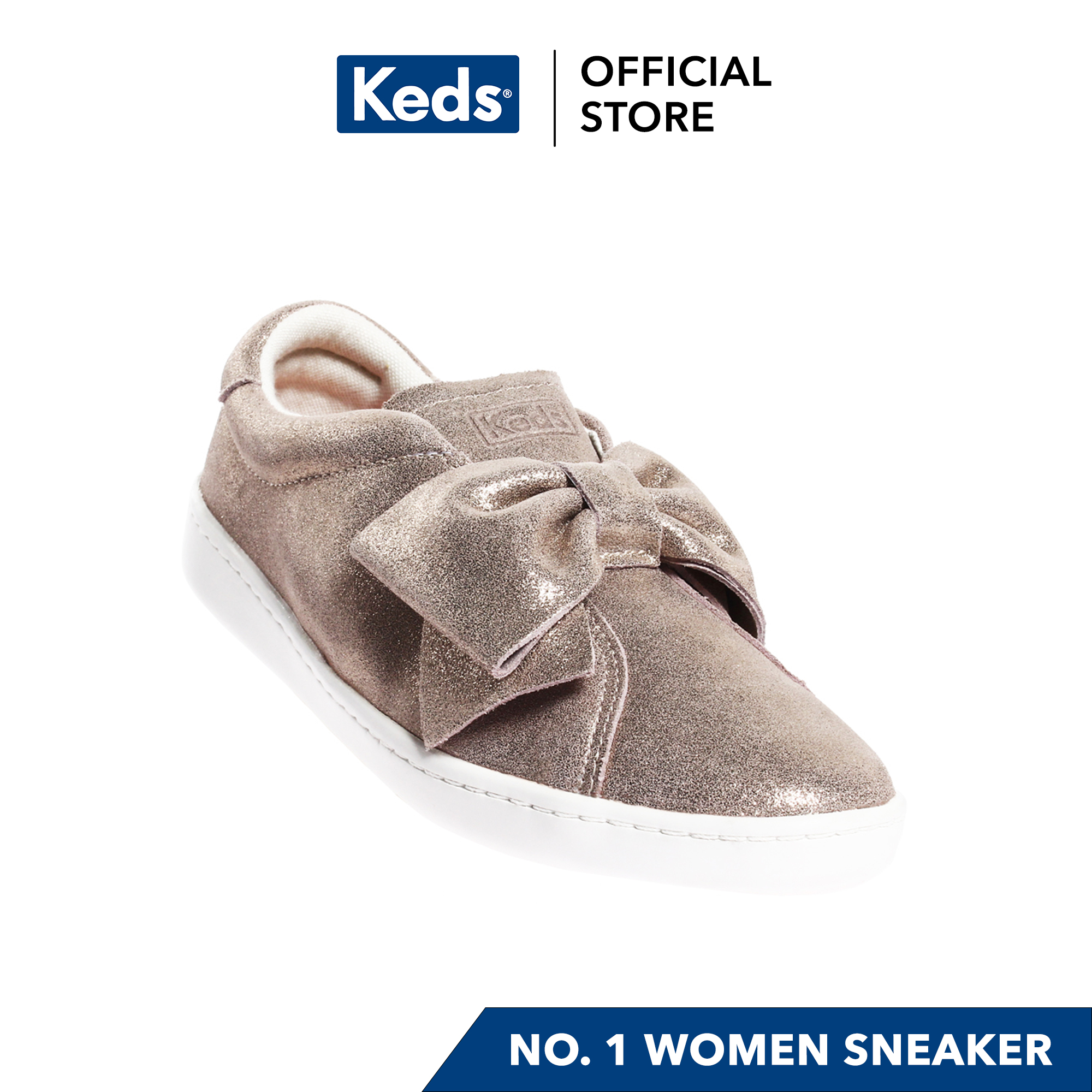 Keds Ace Bow Glitter Slip on Suede