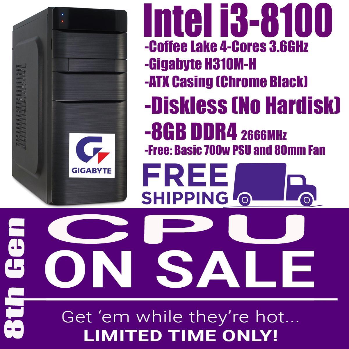 CPU Diskless - 8GB , Intel Core i3-8100 Coffee Lake Quad-Core 3 6 GHz LGA  1151 (300 Series) 65W Tray type (alternative to: core i3-7100 i5-8400