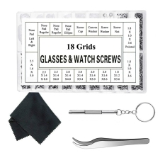 Eyeglass Repair Kit Sunglass Glasses Repair Kit Eyeglasses Screws with 12 Pairs Nose Pad Screwdriver Tweezers Glass Cleaning Cloth for Watch Clock Spectacle Glass Repair