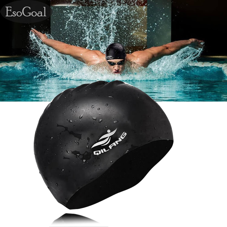 4e332e80aab EsoGoal Swim Cap Long Hair Swimming Cap Waterproof Silicone Hat for Adult  Woman and Men (