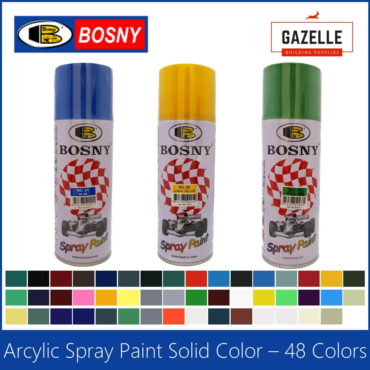 Bosny Acrylic Spray Paint 48 colors - 190 Clear / 191 Clear Flat / 4 Flat  Black / 39 Black