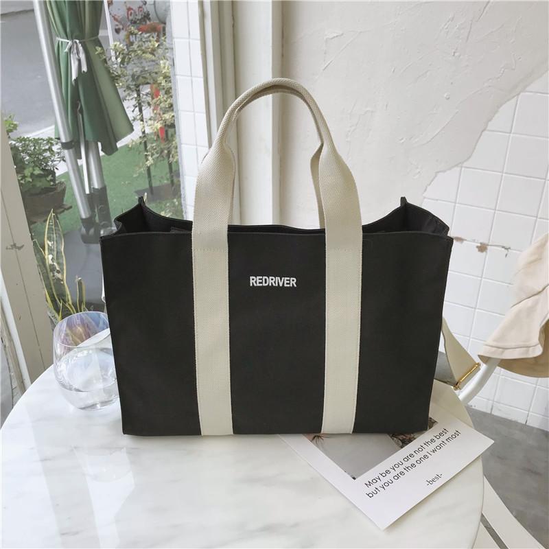 CHIC Canvas Bag Large Capacity Contrast Color Handbag Female Harajuku Wind Simple Shoulder Bag INS Ultra-Fire Shoulder Large Bag
