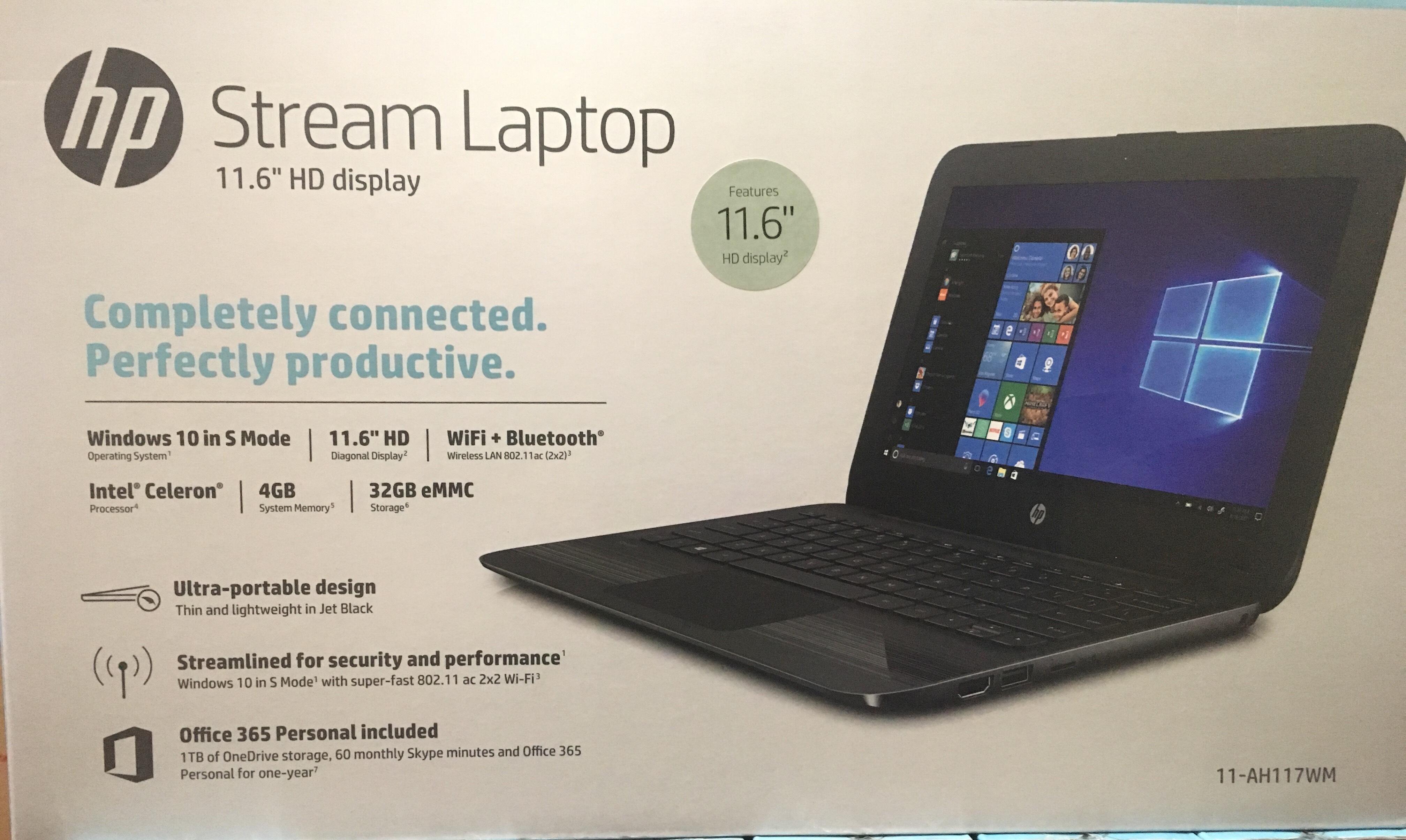"HP Stream 11.6"" Laptop Intel Celeron N4000, 4BGB/ 32 GB, with Office"