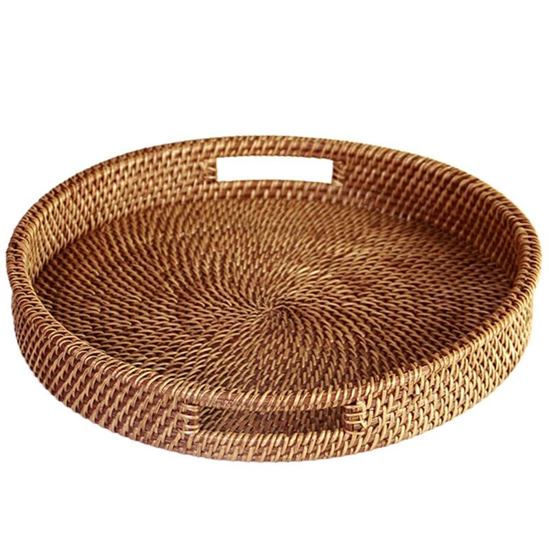 Rattan Tray With Handle - Hand-Woven Multi-Purpose Wicker Tray With Durable Rattan Fiber (Round 13.5 Inch Diameter, Natural)