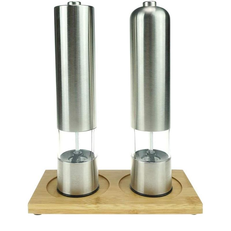 2 Pcs Set Electric Pepper Grinder or Salt Grinder Automatic Battery Operated Stainless Steel Salt Mills or Pepper Mills