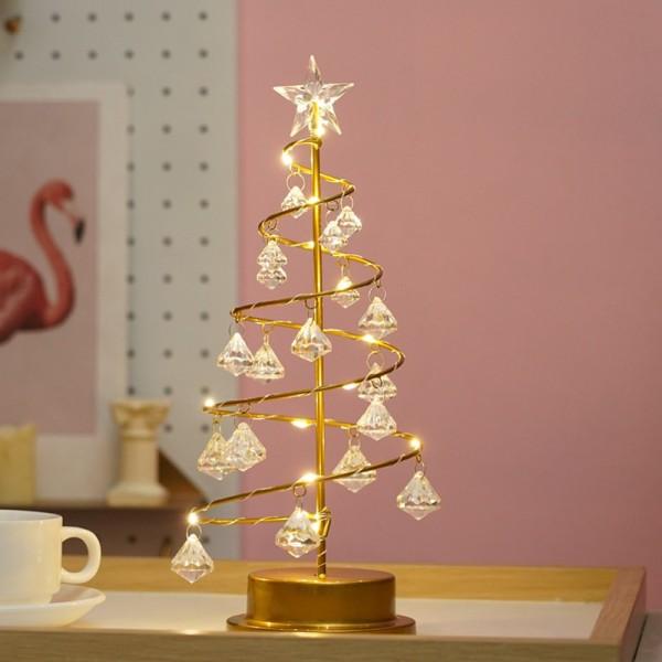 LED Light Crystal Star Tree Light Table Lamp Christmas Decoration lighting Night Light Birthday Gift Holiday Party Wedding Bedroom Lamp Battery Power