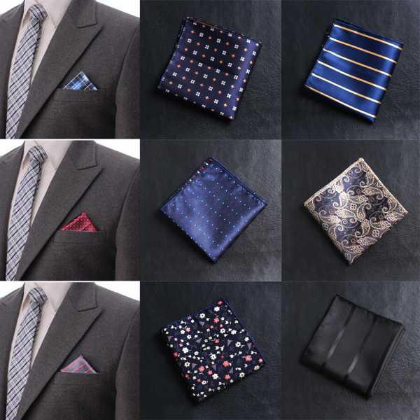 Casual Satin Pocket square Floral Men handkerchief embroidery Chest Towel Hankies