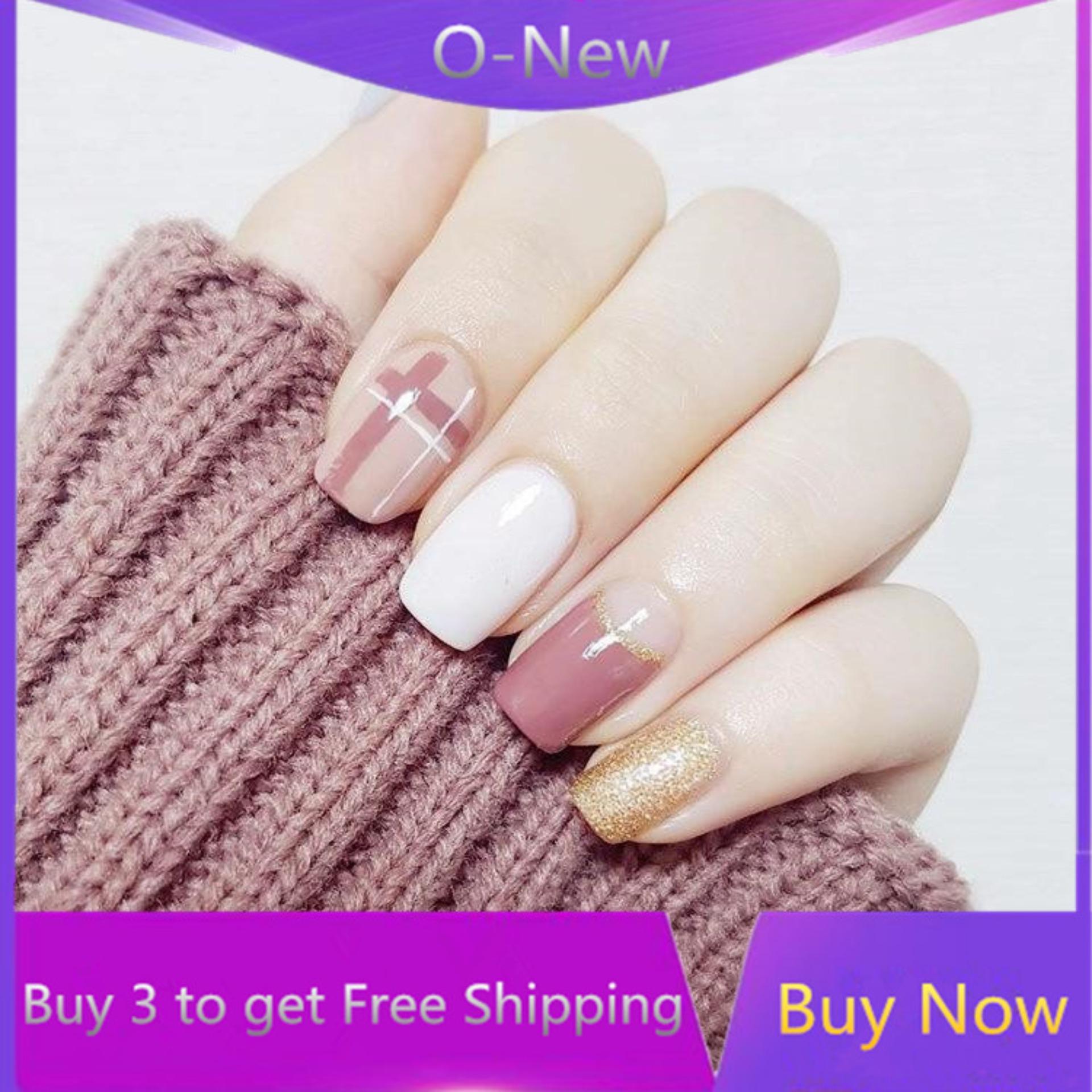 O-New 24Pcs French False Nail Stickers Nail Art Artificial Full Fake Nails Tips with