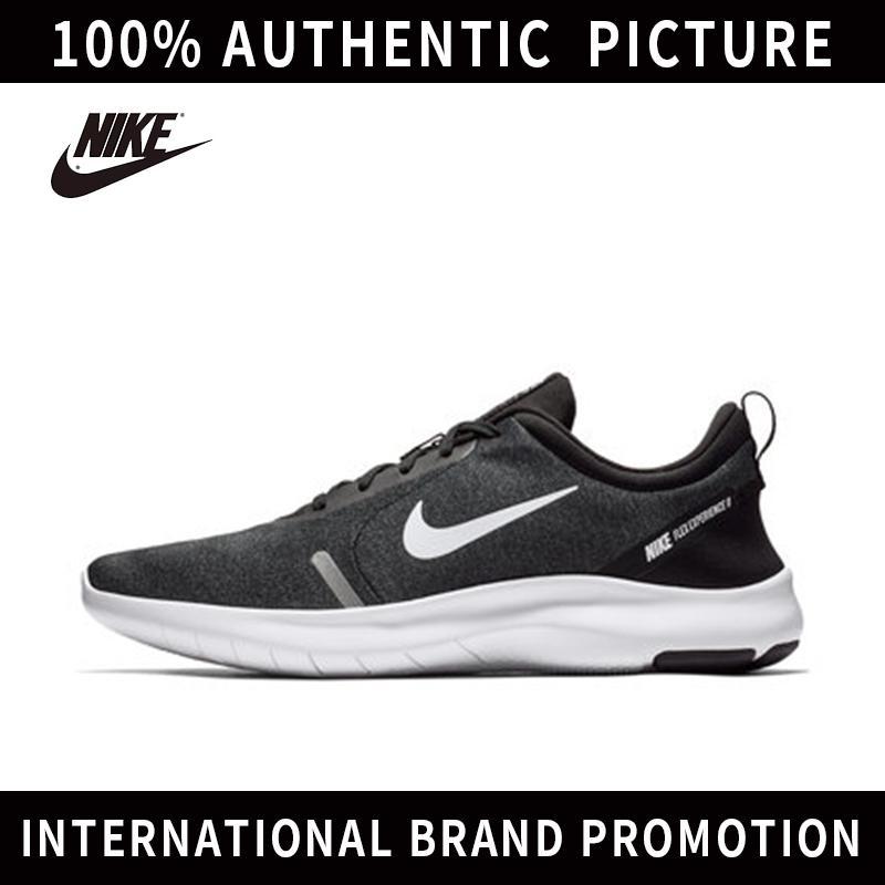 NIKE_FLEX RN 8 Sepatu Unisex Jalan Sepatu Kanvas Rendah Atas Untuk Mens Dan Womens Sepatu Skateboard (Hitam Putih)