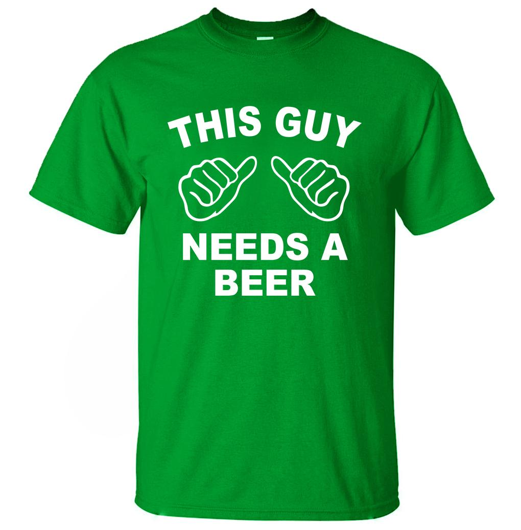 0992aff6 This Guy Needs A Beer Funny T Shirts Men 2019 Summer Creative Short Sleeve T  Shirt