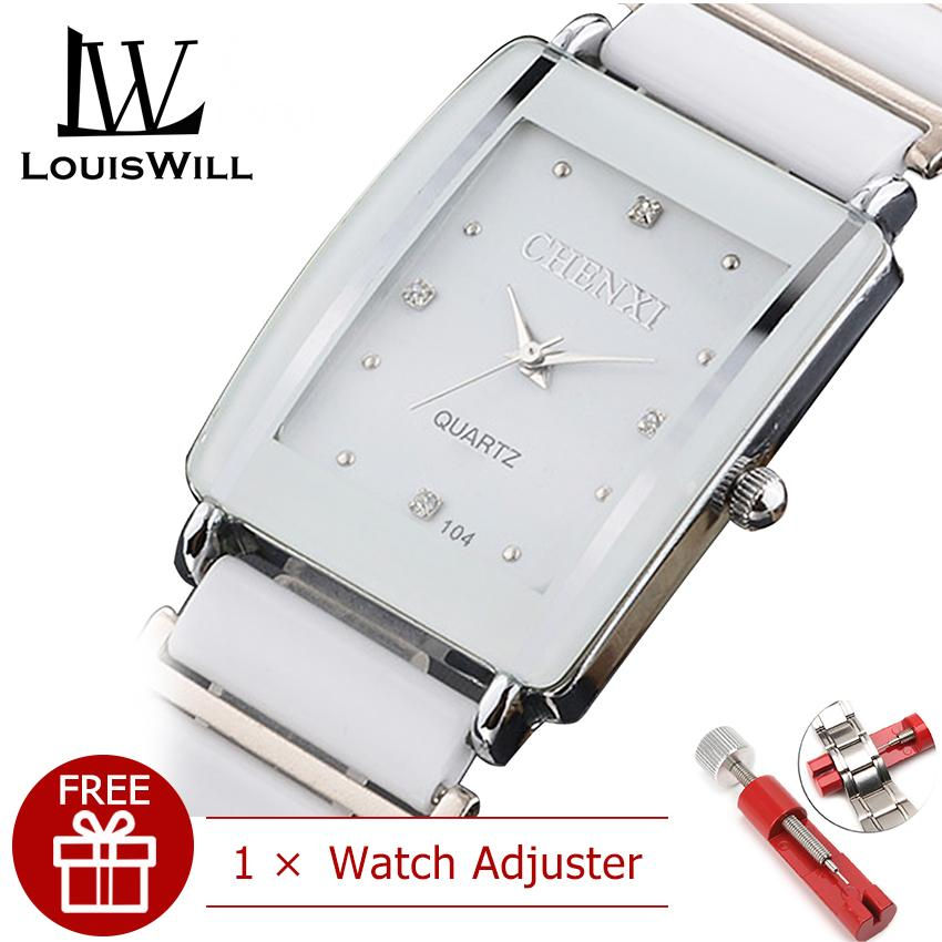 LouisWill Fashion Women Watch Square Womens Quartz Watch with Diamond  Ladies Wristwatches Ceramic Strap Classic Quartz Clock High Quality Watches for Female Malaysia