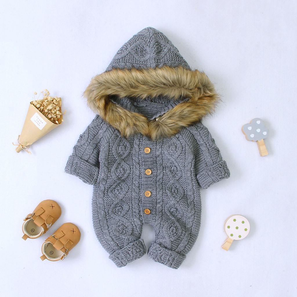 US Winter Warm Newborn Baby Boy Girl Knit Hooded Coat Fur Collar Jacket Clothes