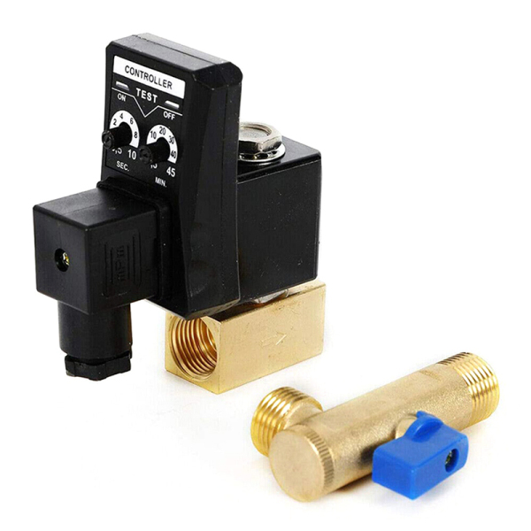 AC 110V 1/2Inch Electronic Timed 2 Way Air Compressor Gas Tank Auto Drain Valve