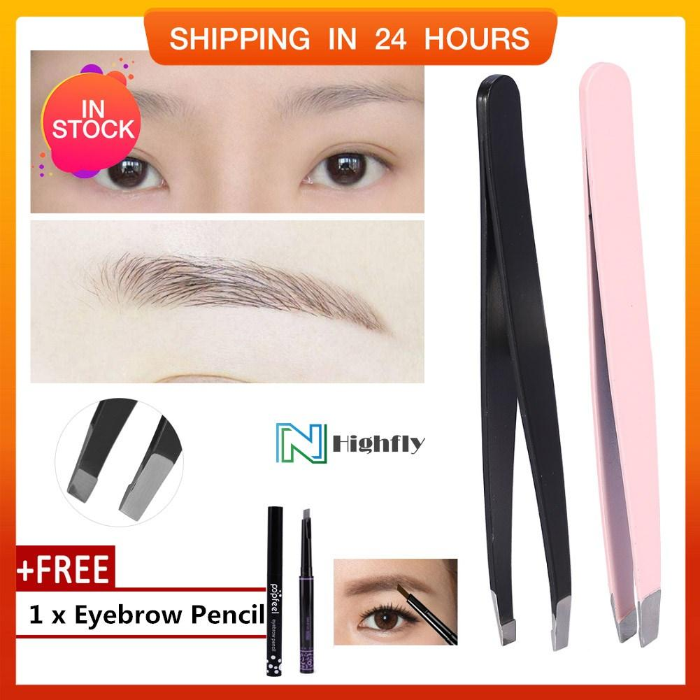 【Free Gift 】2Pcs/Set Stainless Steel Eyebrow Tweezers Facial Hair Removal Clips Makeup Beauty Tool - intl Philippines