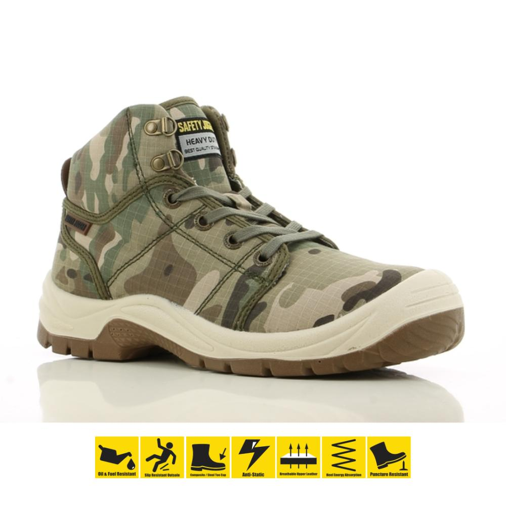 bfb13163e99 Safety Jogger Desert Camo S1P High Cut Safety Shoes Work Boot Footwear  Steel Toe Oil Resist Anti-slip Toe Cap Shoes Safety Boot PPE