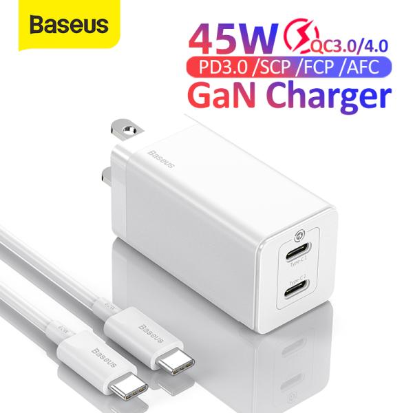 [Giá giải phóng mặt bằng] Bộ sạc USB sạc nhanh Baseus GaN 45W cho iPhone 12 11 Điện thoại di động Samsung Xiaomi Sạc nhanh 4.0 3.0 QC SCP Bộ sạc nhanh PD Bộ sạc USB loại C