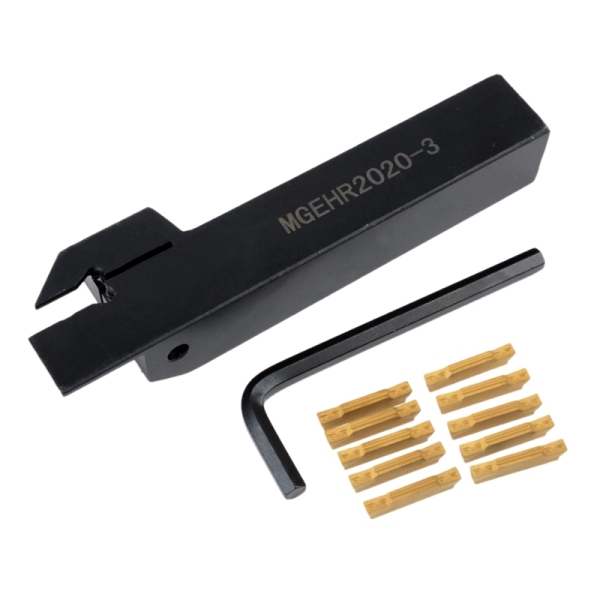 10pcs Mgmn300-M Inserts + Mgehr2020-3 Right Hand Toolholder Boring Bar With Wrench For Lathe Cutting Turning Tool